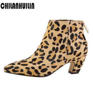 brand shoes woman horse hair leather ankle boots yellow black casual dress party ankle boots botas mujer female autumn shoes