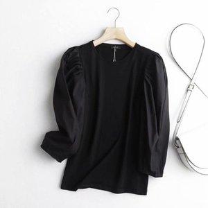 Cthink bon neuf manches femmes blousière mode o cou pull-boover féminin blouses élégant style coréen blouse régulier femme