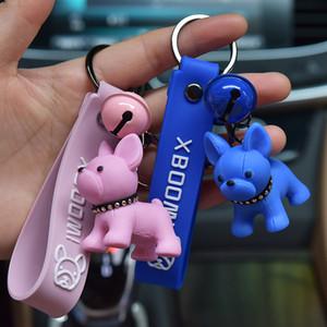 Cute French Pitbull Leather Key Chain Backpack Bulldog Dog Animal Pendant Keychain Sweethearts Bag Trinket Keyring Gift