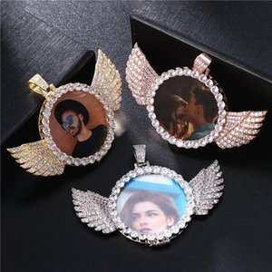 Custom Photo Necklace Angel Wings Luxury Rhinestone Zircon Pendant Fashion Hip Hop Rock Couple Valentine Day Gift Jewelry Y1220