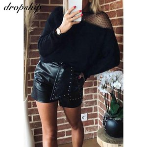 Women Off Shoulder Sweaters Lace V-neck Tops Ladies Casual Loose Sweater Warm Autumn Winter Pullover