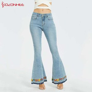 Embroidery Embroidered Flares Jeans Women Elasticity Bell-Bottoms Stretching Women Jeans For Girls Large Size #98