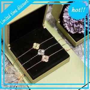 Fashion four leaf clover Silver blue brass 1.4cm 1 flower bracelet Lovers Day gift classic designer brand jewelry for women