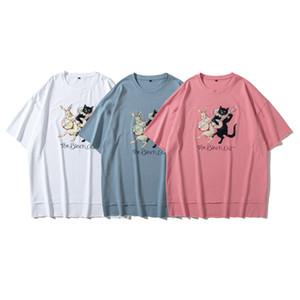 Europa Frühling Sommer Übergroße Guita Black Cat Print Split Hip Hop Tshirt T Shirts Männer Frauen Baumwolle Tee