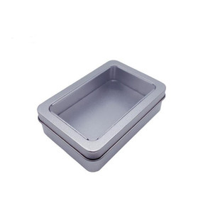 10.7*7*3cm open window metal storage cases, tin boxes steel display packaging can shipping hwa911