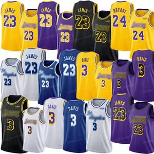 2020 Hot Venda baratos LeBron 23 Davis 3 Bryant 24 de basquete masculino Jersey Lekers costurado de alta qualidade S-2XL