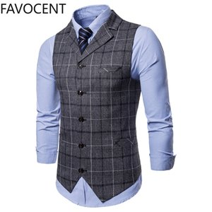 New Mens Vest Casual Business Men Suit Vests Male Lattice Waistcoat Fashion Mens Sleeveless Suit Vest Smart Casual Top Grey Blue A1106