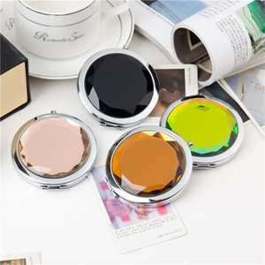 Cosmetic Hand Mirror Round Crystal Fold Women Portable Gift Makeup Compact Multicolour Mirrors Cosmetology Hot Sale 2 55wc M2