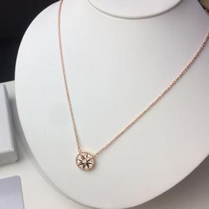 Rosa Gold 925 plata ocho puntas estrella compás fritillary collar colgante para mujer diseñadora de joyería de moda para mujer