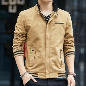 Spring Autumn New Fashion Casual Mens Cotton Stand Collar Jackets Long Sleeve Slim Fit Plus Size M-4XL Male Outerwear Coats