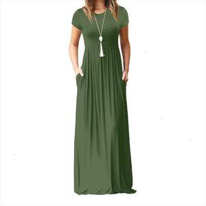 Size Plus Xxl Summer Maxi Long Dress Women Female Short Sleeve Solid Casual Dresses Femme Pockets O neck Dress Long designer clothes