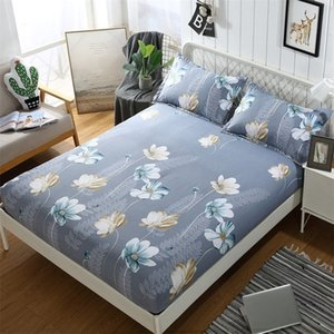 Flower Pattern Mattress Cover Polyester Dustproof Bed Cover Anti-slip Mattress Protector Elastic Fitted Sheet Cover Home Decor 201218