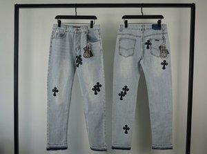 2020SS Chrome coeurs CH croix brodée en peau d'agneau lourd bouton droit Argent Jeans Washed High Street Heavy Industry Pantalons simple M-XXL