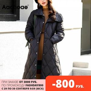 Aachoae solido casuale cappotto lungo parka invernale manica lunga donne caldo tasca del cappotto femminile gira giù Ufficio tuta sportiva
