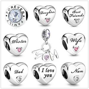 Herzform Schwester Dad Mom Daughter Perlen passen Pandora Charms Silber 925 Armband Schmuckstück Schmuck für Frauen DIY Herstellung