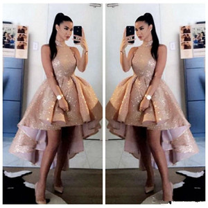 Bling Bling Sequins Rose Gold High Neck Prom Dresses 2021 Sexy Short Front Long Back Sleeveless Formal Party Evening Gowns vestido de gala