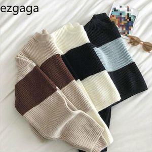 Ezgaga Pull à rayures Femmes Vintage O-cou à manches longues Contraste Crop Pull en vrac Automne Nouveau mode Pull Maille Femme