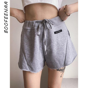 BOOFEENAA Sports Shorts Women Summer 2020 Cotton Casual Loose High Waisted Shorts Drawstring Sweat Short Pants C71-AZ45