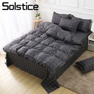 Solstice Home Textile Dark Grey Literie Set Géométrique Plaid Simple Couverture de couette Simple Taie d'oreiller Adulte Homme adolescent Linge de lit sans feuille 201127