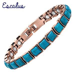 Escalus Frauen Semi-Edelsteine Kupfer-Plattieren Magnetische Damenarmband Armreif Armband Armband Charme 200925