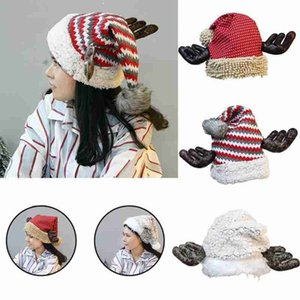 1pcs Christmas Hat Flannel Antler Red Hat For Xmas Party Merry Xmas New Year Gift For Women Decoration Polyester Christmas