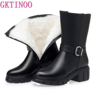 GKTINOO High-heeled shoes genuine leather women winter boots thick wool warm women leather boots high-quality female snow
