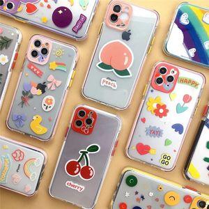 Lindo Graffiti preciosas cajas del teléfono de iPhone 12 Mini 11 Pro X XS Max XR TPU para el iPhone 7 8 más transparente del caso de la historieta