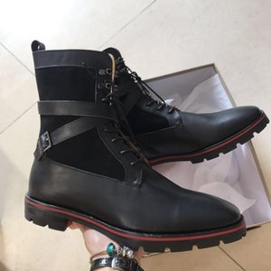 SuperAAAQuality Men's High Top Boots Red Bottom Oxfords Boot Red Sole Spikes Motorcycle boots With Strap buckle Red Rubber Sole shoes