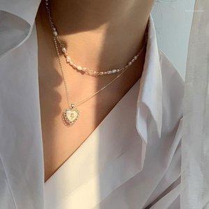 2 unids / set Romantic Shell Forma de corazón Inlay Modelado Colgante Collares Collares para Mujeres Multicolor Pearl Gargantilla Collares1