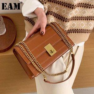 [EAM] Frauen Neue Luxus-Stickketten PU-Leder Klappe Persönlichkeit Allgleiches Crossbody Umhängetasche Mode TIDE 2021 18A1396