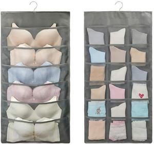 Closet Hanging Organizer, Double Side Cloth Hanging Storage Organiser Hanging Holder Mesh Pockets for Socks Underwear Bra Ties