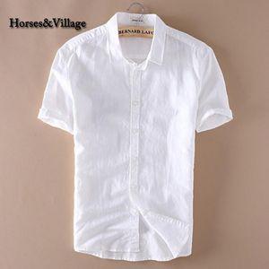 2020 hommes d'été 4XL Chemises solides manches courtes en coton blanc en lin Chemises Camisa Masculina