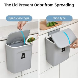 9L Hanging Trash Can for Kitchen Cabinet Door with Lid Small Under Sink Garbage Bin Wall Mounted Counter Waste Compost Bins