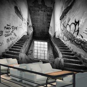 Drop Shipping Custom 3d Mural 3D Cement Ash Industrial Wind Graffiti Wallpaper Nostalgic Retro Large Cafe KTV Bar Wallpaper