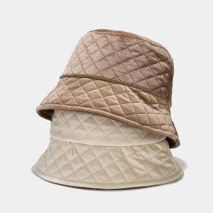Oloey Холст стеганый плед шлемов ведра женщин Осень Плоский Основные Теплый Basin Caps Черный насыщенный рыболова Шляпы Уличная 2020 Новый