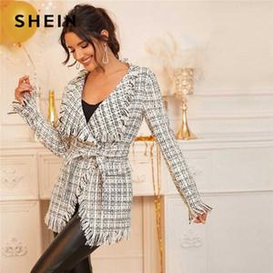 Shein Siyah Ve Beyaz Şelale Yaka Tweed Wrap Beit Kadınlar 2020 İlkbahar Uzun Kollu Ekose Yıpranmış Kenar Outwear 2doj # ile Elegant Coat