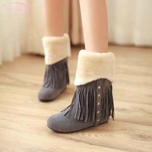 Chainingyee casuali rotondi invernali testa stivali caldi peluche a metà polpaccio nappa del ribattino crescente statura media con gli stivali neve delle donne