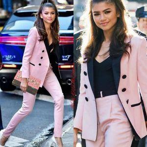Light Pink Mother Of The Bride Pant Suits Women Business Suits Black Peaked Lapel Tuxedo Blazer For Wedding(Jacket+Pants) 201012