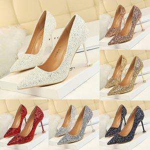 Mode Europäischer Stil High Heels Stiletto Shallow Mund Gespitzte Spitze Glänzende Pailletten Sexy Slim Nightclub Schuhe Multi-Color Hochzeitsschuhe