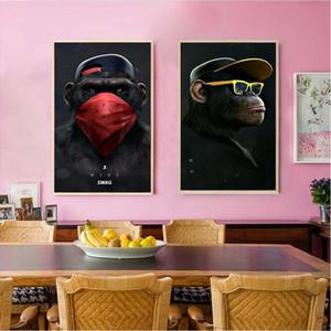 Grande immagine animale su tela stampata pittura moderna divertente di pensiero scimmia con cuffia muro arte poster per l'arredamento di salotto