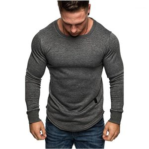 Clothes 2021 New Arrivals Long Sleeved Mens Tshirts Solid Color Crew Neck Tees Fashion Casual Male
