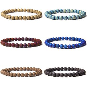 Chakra Druzy Agat Bracelets Couple Jewelry Fashion Natural 6 mm Stone Beads Bracelet Men Black Handmade Elastic Pulsera Gifts