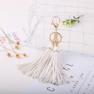 12pcs Dozen Whole Sale Leather Tassels Key Chain With Two Tassels For Womencar Keychain Bag Key Ring Jewelry Eh820c H jlltlK