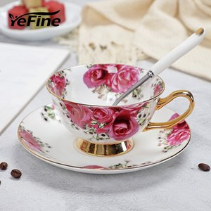 YeFine ceramica Pomeriggio nero Tazze e piattini Bone China tazza di caffè con vassoio in porcellana Drinkware Set Dropshipping 1020