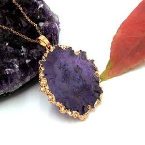 Fashion Natural Rock Druzy Stone Pendant Necklaces for Women Gold Color Geometric Irregular Necklaces Jewelry Drop Shipping