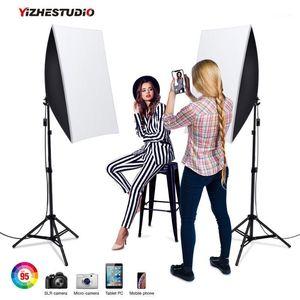 Yizhestudio استوديو أطقم 50x70cm الإضاءة softbox مع حامل مصباح E27 2 * 58W، 2M ضوء حامل صور استوديو لينة مربع كيت 1