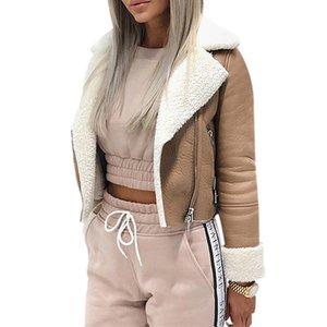 Spring Women Outerwear Coat Jackets Lapel Suede Leather Buckle Cool Pilot Jacket Faux Lamb Wool Motorcycle Jackets 201014