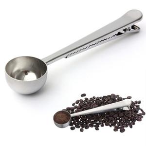 Dayanıklı Paslanmaz Çelik Kaşık Zemin Çay ile Kahve Kepçe Taşınabilir Çanta Mühür Klip Toz Ölçüm Araçları
