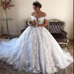 Gorgeous 2021 Lace Wedding Dresses Princess Ball Gown 3D Applique White Bridal Gowns Off The Shoulder Bandage Back Designer Marriage Dress