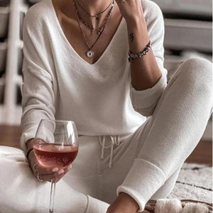 Women's Solid V-Neck Pajamas Set Long Sleeve Top And Drawstring Long Pants Home Clothes Female Spring Autumn Casual Pajama